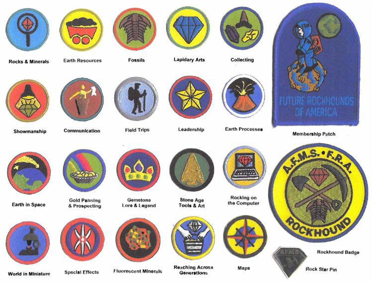 picture of the different rockhound badges kids can earn